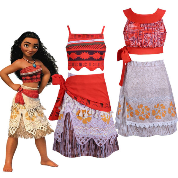 Child Moana Princess Costume Girls Kids Fancy Dress Crop Top and Skirt Outfit $8.80