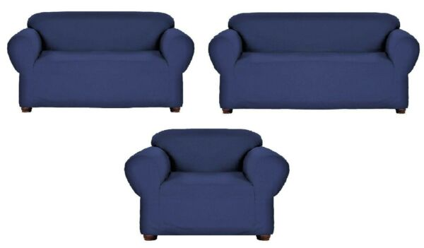 Jersey Navy Blue Slipcover Stretch Couch Loveseat Sofa Recliner Cover Protector $18.99