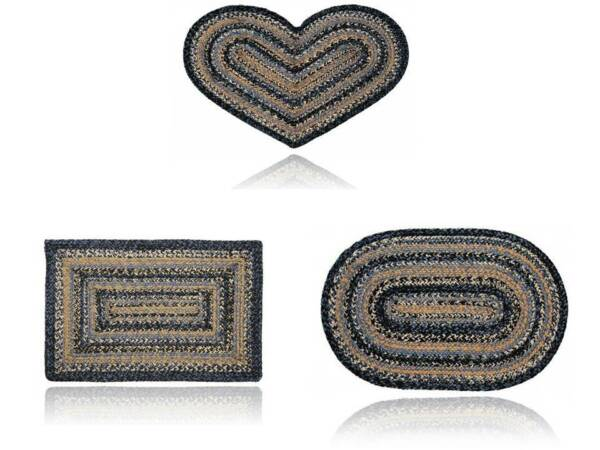 Braided Area Rug River Shale Jute Oval Rectangle Heart 20