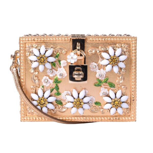 DOLCE & GABBANA Crystals Beads Shoulder Bag Clutch DOLCE BOX DAISY Gold 05992