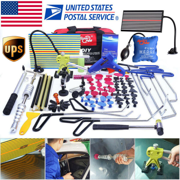 110× US PDR Push Rods Tools Paintless Dent Repair Puller Lifter Hammer LED Light
