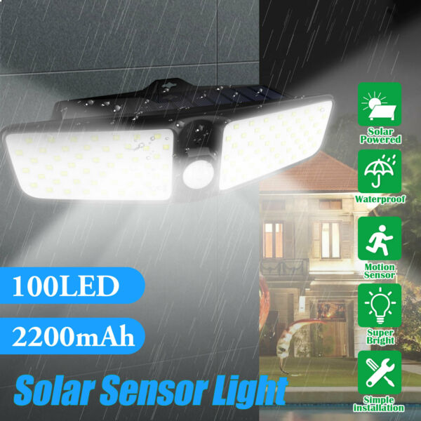 100 LED Dual Security Detector Solar Spot Light Motion Sensor Outdoor Floodlight $18.97