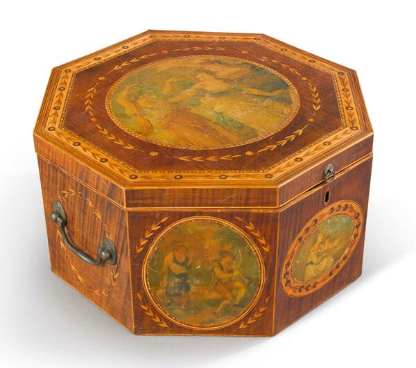 VERY FINE AND RARE GEORGE III INLAID AND PAINT DECORATED MAHOGANY TEA CADDY ...
