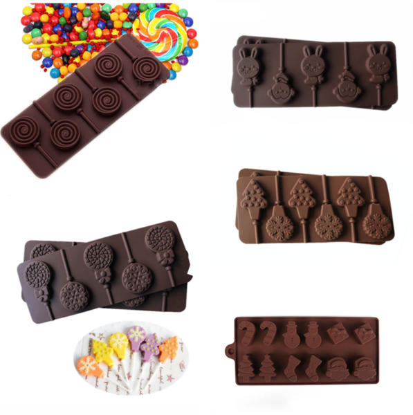 5 Shapes Silicone Cake Lollipop Moulds Candy Cookies Chocolate Baking Mold