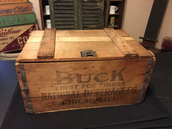 Antique 1919 Buck Prohibition Wood Crate Trunk National Beverage Chicago Beer