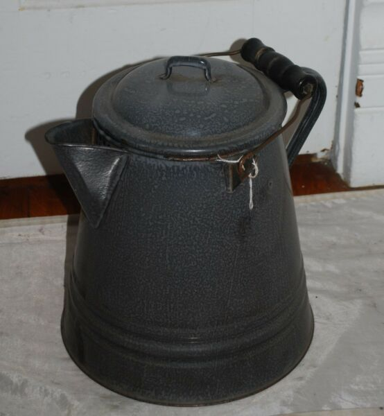 Vintage Lg. Gray Enamelware Wood Handle Coffee Pot for Camping or Wood Stove Use