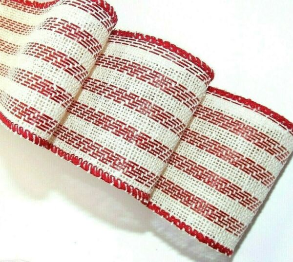 2 ps =3 Yds2.5quot; Red amp; White StripeTexturedBurlap like Wired Thick Ribbon