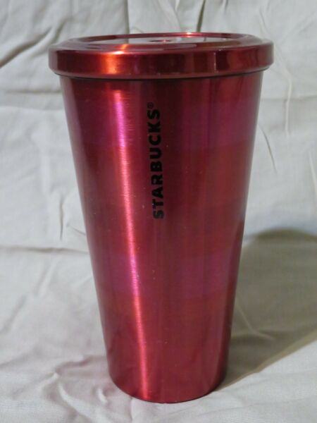 Starbucks Stainless Steel 2014 Coffee Cold Cup Tumbler Red Pink Stripe 16oz