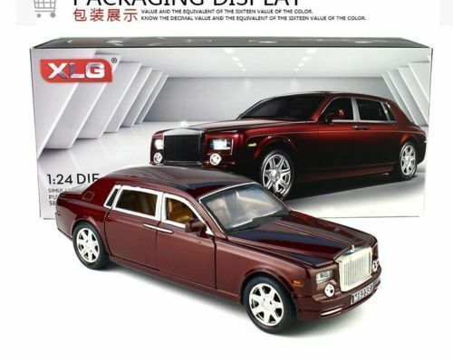 1:24 Rolls-Royce Phantom Diecast Sound Light Pullback Model Toy Car Wine Red