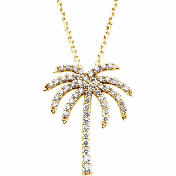 Genuine Diamonds 13 ct tw G-H  I1 Palm Tree Pendant Necklace in 14K. Solid Gold