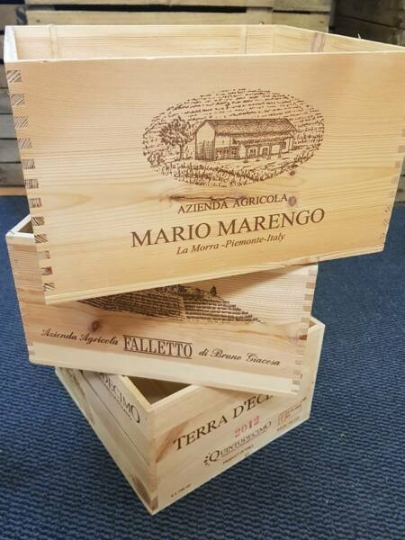 3 x ITALIAN WOODEN WINE CRATES BOXES - VINTAGE SHABBY CHIC DRAWERS STORAGE--