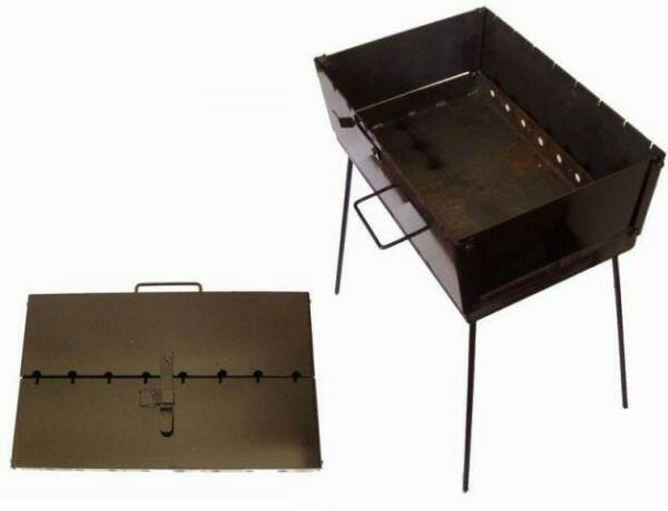 Portable Case Barbeque Grill Mangal BBQ Kabab Shashlyk Stove Camping Steel New