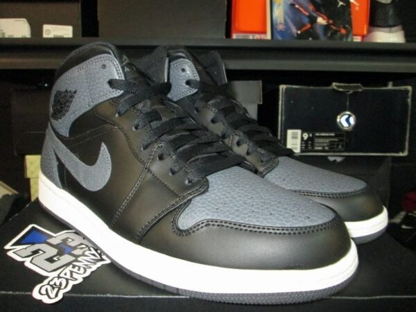 SALE AIR JORDAN 1 MID I RETRO 554724 041 BLACK DARK GREY SUMMIT WHITE SZ 7-14