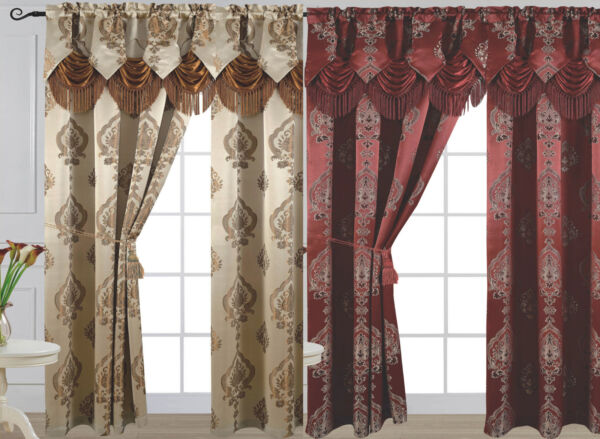 Luxury Jacquard Curtain Panel with Attached Waterfall Valance 54
