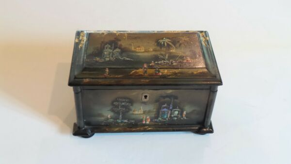 Early 19th C. Lacquer Chinese Export Tea Caddy Mother-of-Pearl