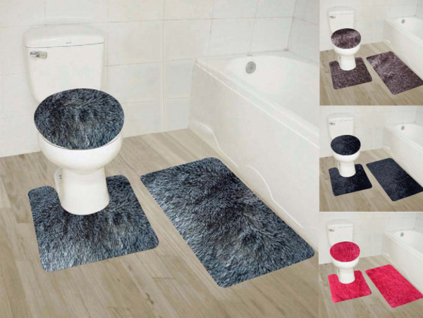 3PC #9 SOFT BATHROOM SET BATH MAT CONTOUR RUG TOILET LID COVER NEW 3 styles
