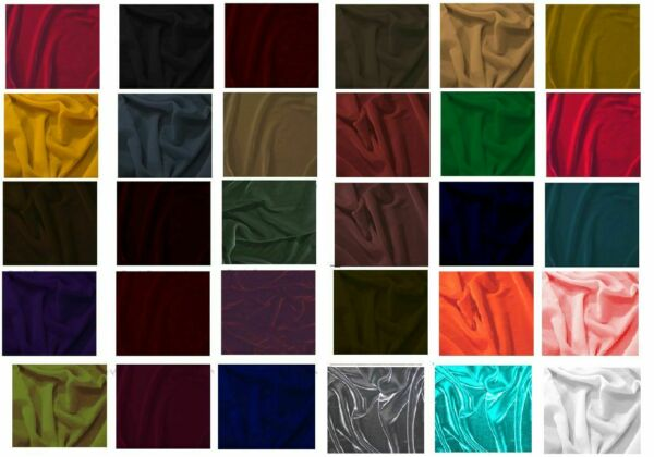 """SILK RAYON VELVET SOLID FABRIC 45""""W COSTUMES APPARELUPHOLSTERY 43COLOR BY YARD"""