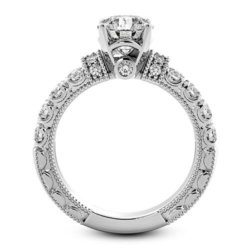 Antique Solitaire 1.02 Carat Round Cut Real Diamond Engagement Ring White Gold
