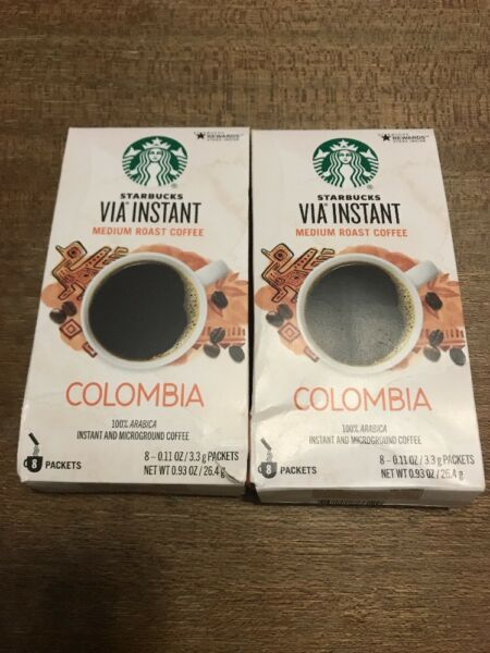 Lot Of 60 Starbucks Columbia Roast Via Instant Coffee Packets exp Sept 2018