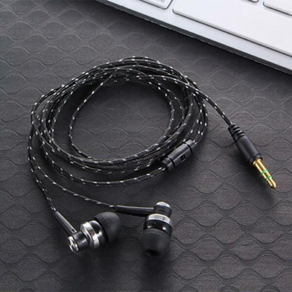 Black In-Ear Earbuds Stereo Tangle Free Braided Cable Cord Quality Sound Bass