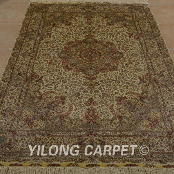 YILONG 6'x9' Hand Made Silk Perisan Rug Washed Home Library Sofa Carpet 0972