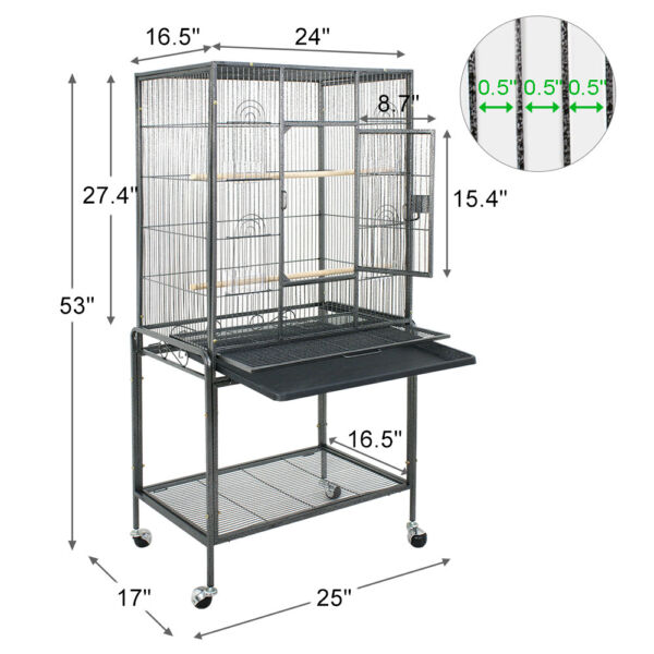 Bird Cage Large Play Top Bird Parrot Finch Cage Macaw Cockatoo Pet Supplies 53