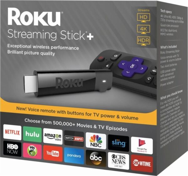 Roku 4K HDR Media Streaming Stick with Voice Remote 3810R