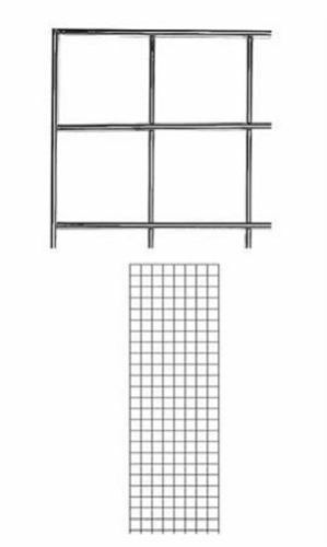 Set of 2 Gridwall Panels 2' x 6' Grid Wall Wire Display Chrome Panel Steel