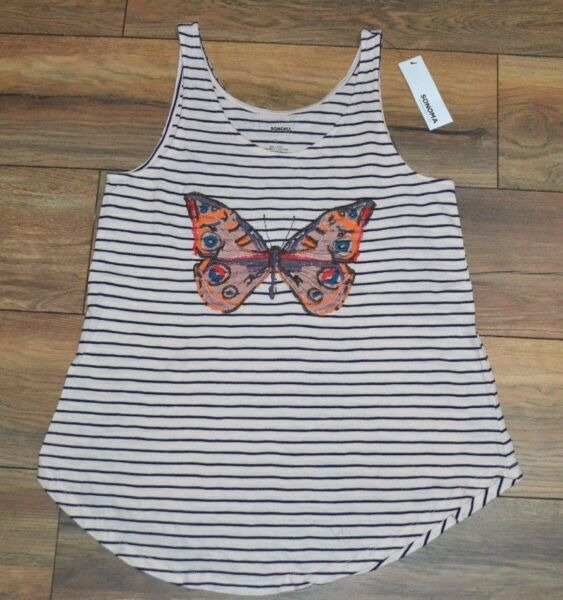 Sonoma Everyday Tank Top Sleeveless Top Embroidered Butterfly Swing Tank