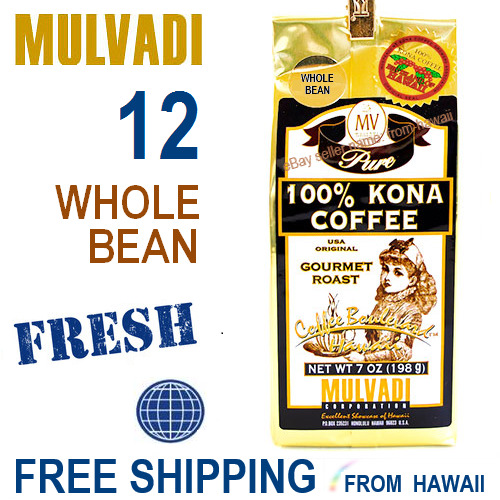 Mulvadi 100% KONA COFFEE  Whole Bean *JUL 2019* 12 Pack 7oz Gourmet Roast Hawaii