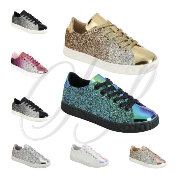 Forever Link Women's Lace up Glitter Metallic Sparkly Fashion Sneakers Shoes