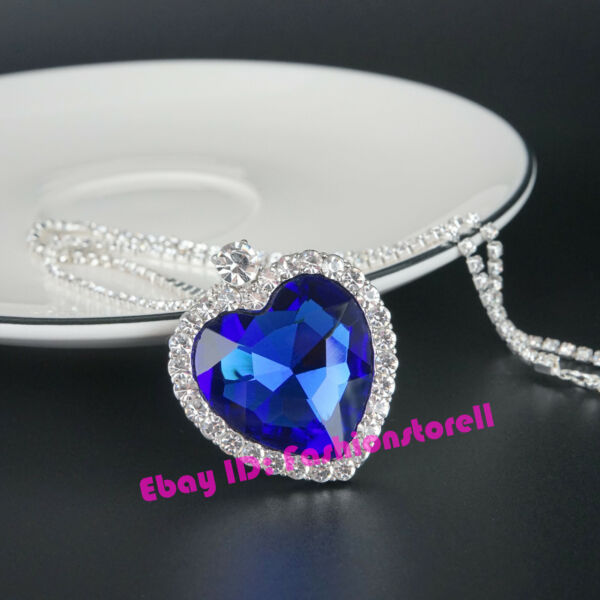 Titanic Heart Of The Ocean Sapphire Big Blue Crystal Necklace with Gift Bag
