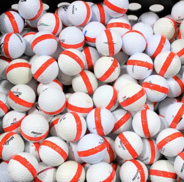 100 Premium Assorted Orange Striped White Range Practice Golf Balls- Top Quality