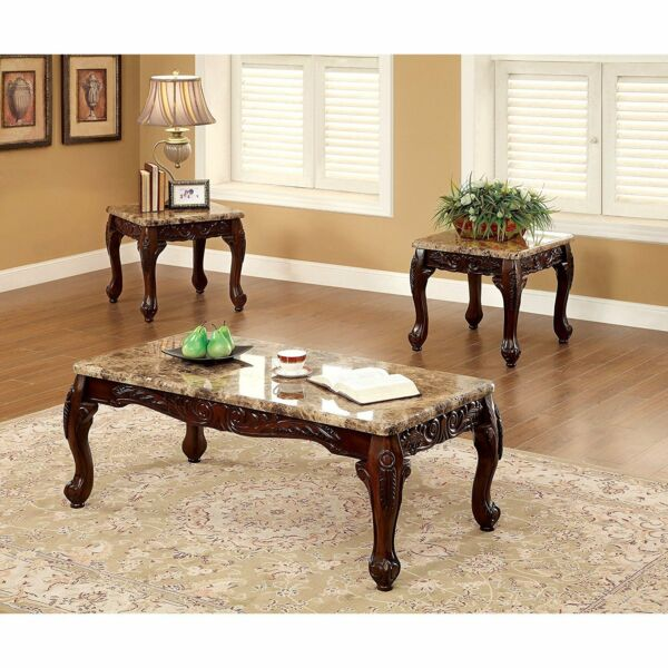 3pc Faux Marble Top Table Set Dark Oak Wood Living Room Accent Decor Coffee End