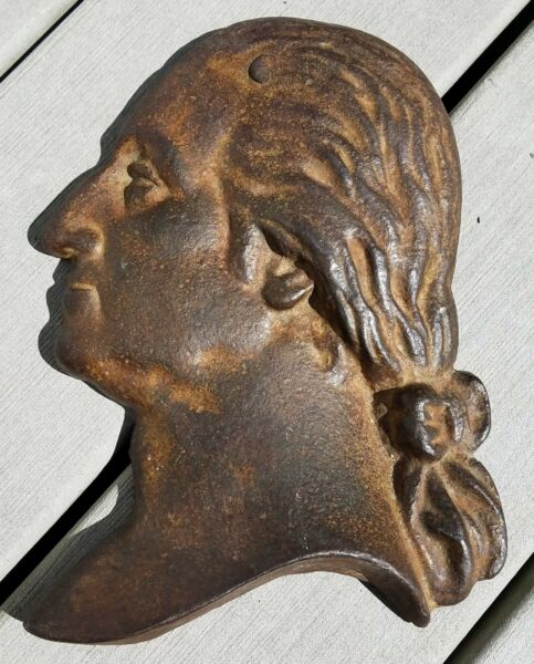 ANTIQUE CAST IRON GEORGE WASHINGTON HEAD PROFILE-LARGE SILHOUETTE-FREE USA SHIP
