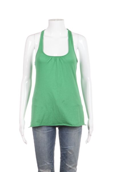 VELVET BY GRAHAM SPENCER Tank Top Small Green Racerback Twisted Shirt Blouse