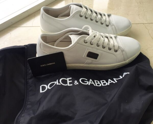 Dolce Gabbana Men's Shoes Sneakers Logo Lace Up Designer Fashion Leather White