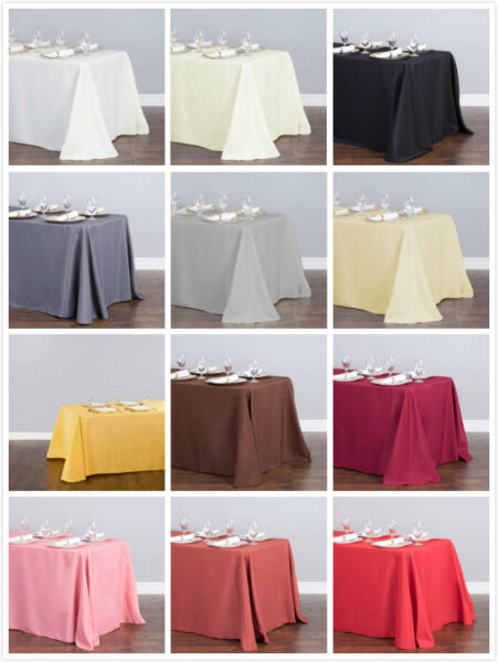 1 10 Pcs 90 x 132 in. Polyester Rectangular Linen Tablecloth Wedding Event Party
