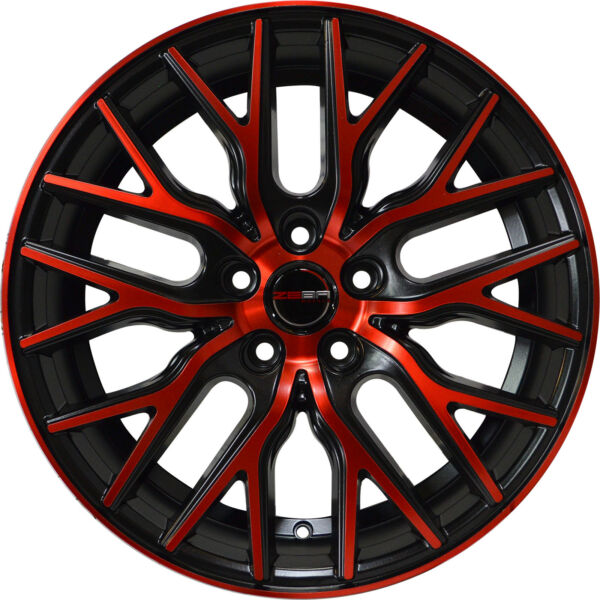 Set of 4 GWG Wheels 18 inch Black Red Face FLARE Rims fits 5x114.3 ET40 CB74.1