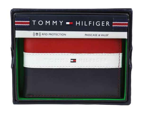 Tommy Hilfiger Men#x27;s Leather Wallet Passcase Billfold Rfid Red Navy 31TL220053 $25.99