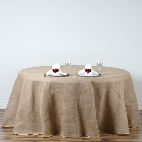 120quot; Natural Brown BURLAP ROUND TABLECLOTH Wedding Party Trade Booth Linens SALE