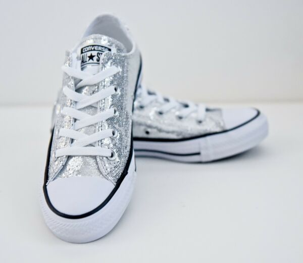 Converse All-Star Chuck Taylor Silver Glitter Unisex Low Sneakers [135851C]