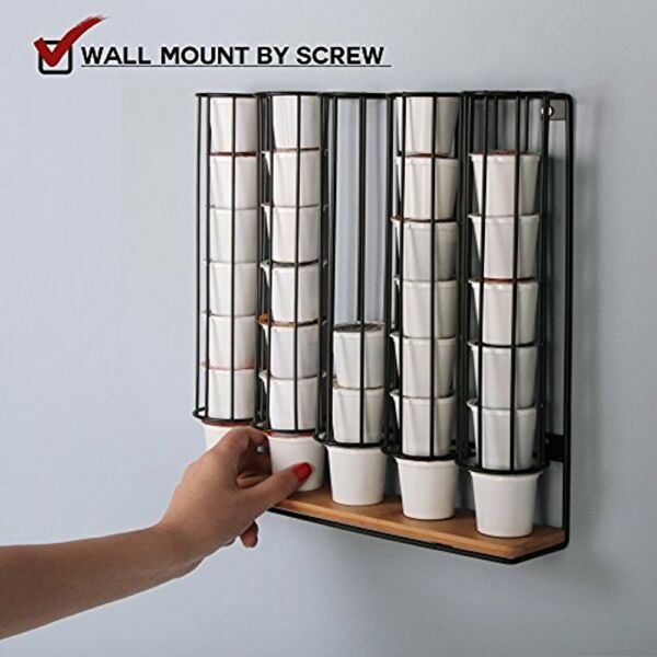 Storage & Organization JackCubeDesign Wall Mount Bamboo 35 K-Cup Dispenser Stand