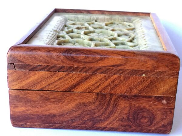 VINTAGE CHINESE HUANGHUALI? WOOD JEWELRY BOX W HAND CARVED NATURAL STONE TOP