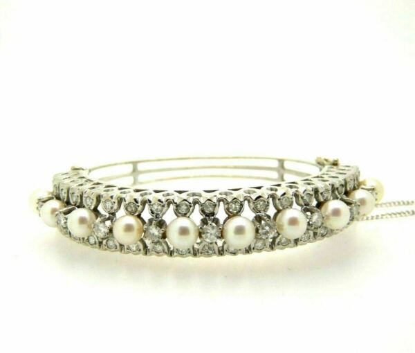 BRACELET ANTIQUE WHITE GOLD SOLID 14 CARATS DIAMONDS 148 CT PEARLS VINTAGE 1920