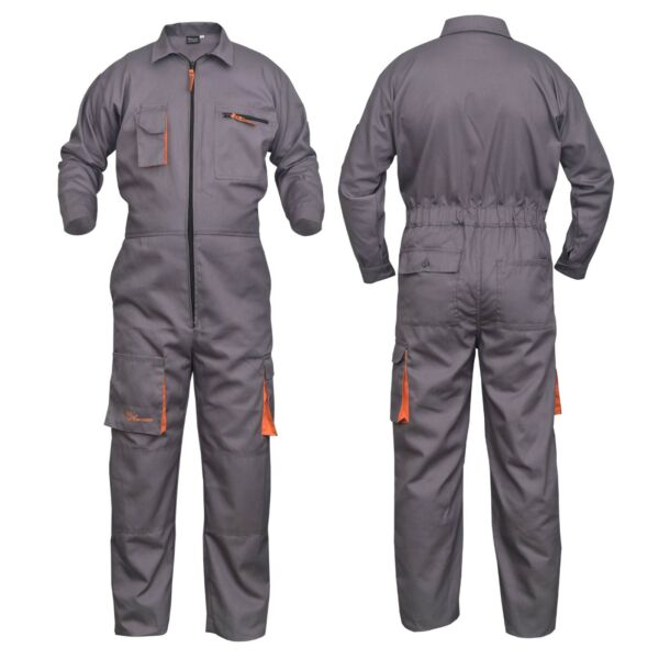 Grey Work Wear Men#x27;s Overalls Boiler Suit Coveralls Mechanics Protective $38.99