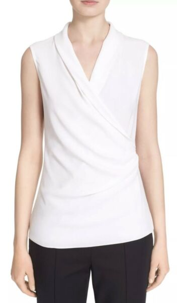 NWT St. John Side Drape Satin Back Crepe Tank Bianco White Size Medium