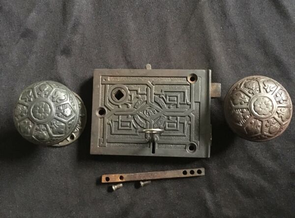 Antique Russell and Erwin Rim Lock W Knobs Rosette and Key 1869