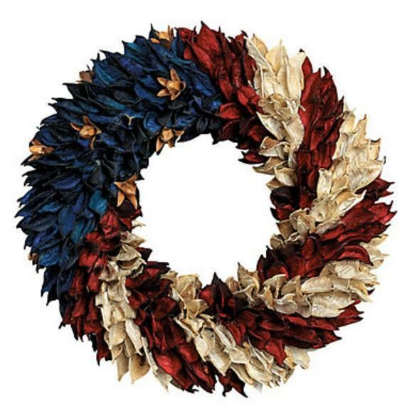 July 4th Patriotic American Flag Floral Wreath for Door Wall Centerpiece 11