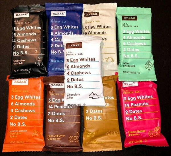60 Assorted Flavor - RXBAR Whole Food - 12g Protein Bars - Wrong Picture